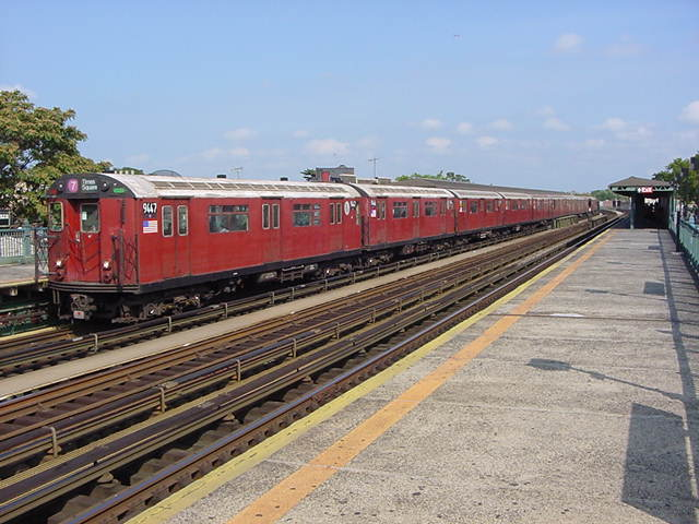 (60k, 640x480)<br><b>Country:</b> United States<br><b>City:</b> New York<br><b>System:</b> New York City Transit<br><b>Line:</b> IRT Flushing Line<br><b>Location:</b> 103rd Street/Corona Plaza <br><b>Route:</b> 7<br><b>Car:</b> R-36 World's Fair (St. Louis, 1963-64) 9447 <br><b>Photo by:</b> Salaam Allah<br><b>Date:</b> 9/24/2002<br><b>Viewed (this week/total):</b> 5 / 2486