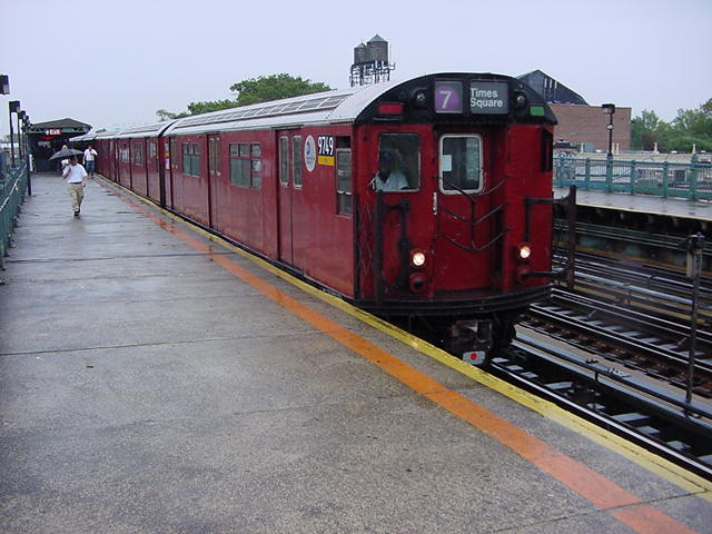 (61k, 640x480)<br><b>Country:</b> United States<br><b>City:</b> New York<br><b>System:</b> New York City Transit<br><b>Line:</b> IRT Flushing Line<br><b>Location:</b> 103rd Street/Corona Plaza <br><b>Route:</b> 7<br><b>Car:</b> R-36 World's Fair (St. Louis, 1963-64) 9749 <br><b>Photo by:</b> Salaam Allah<br><b>Date:</b> 9/26/2002<br><b>Viewed (this week/total):</b> 4 / 2543