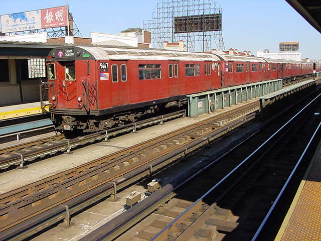 (60k, 640x480)<br><b>Country:</b> United States<br><b>City:</b> New York<br><b>System:</b> New York City Transit<br><b>Line:</b> IRT Flushing Line<br><b>Location:</b> 33rd Street/Rawson Street <br><b>Route:</b> 7<br><b>Car:</b> R-36 World's Fair (St. Louis, 1963-64) 9447 <br><b>Photo by:</b> Salaam Allah<br><b>Date:</b> 9/18/2002<br><b>Viewed (this week/total):</b> 1 / 1634