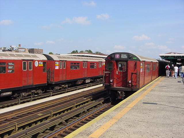 (59k, 640x480)<br><b>Country:</b> United States<br><b>City:</b> New York<br><b>System:</b> New York City Transit<br><b>Line:</b> IRT Flushing Line<br><b>Location:</b> 82nd Street/Jackson Heights <br><b>Route:</b> 7<br><b>Car:</b> R-36 World's Fair (St. Louis, 1963-64) 9760 <br><b>Photo by:</b> Salaam Allah<br><b>Date:</b> 9/24/2002<br><b>Viewed (this week/total):</b> 0 / 2410
