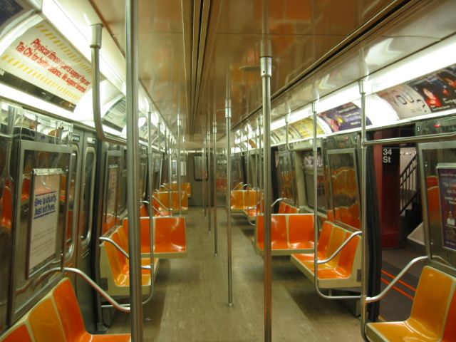 (122k, 640x480)<br><b>Country:</b> United States<br><b>City:</b> New York<br><b>System:</b> New York City Transit<br><b>Car:</b> R-68 (Westinghouse-Amrail, 1986-1988)  Interior <br><b>Photo by:</b> Oren H.<br><b>Notes:</b> Interior with old flooring.<br><b>Viewed (this week/total):</b> 3 / 2644