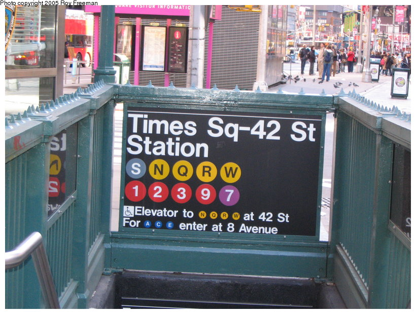 (146k, 820x620)<br><b>Country:</b> United States<br><b>City:</b> New York<br><b>System:</b> New York City Transit<br><b>Line:</b> IRT West Side Line<br><b>Location:</b> Times Square/42nd Street <br><b>Photo by:</b> Roy Freeman<br><b>Date:</b> 4/16/2005<br><b>Notes:</b> Station entrance at Broadway & 43rd.<br><b>Viewed (this week/total):</b> 2 / 2328