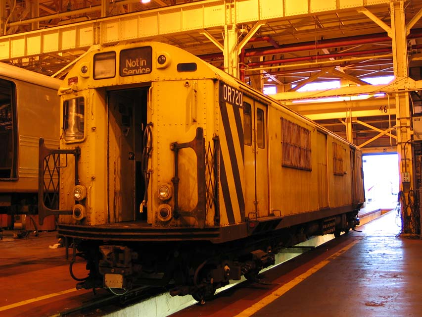 (117k, 853x640)<br><b>Country:</b> United States<br><b>City:</b> New York<br><b>System:</b> New York City Transit<br><b>Location:</b> Coney Island Shop/Overhaul & Repair Shop<br><b>Car:</b> R-95 Revenue Collector 0R720 (ex-7337)<br><b>Photo by:</b> Michael Pompili<br><b>Date:</b> 8/30/2004<br><b>Viewed (this week/total):</b> 3 / 3779