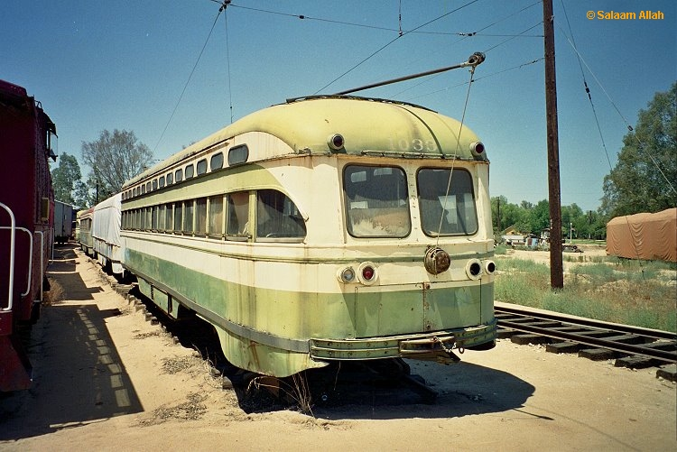 (264k, 750x501)<br><b>Country:</b> United States<br><b>City:</b> Perris, CA<br><b>System:</b> Orange Empire Railway Museum <br><b>Car:</b> SF MUNI PCC Baby Ten (St. Louis Car Co, 1951)  1033 <br><b>Photo by:</b> Salaam Allah<br><b>Date:</b> 1/18/1999<br><b>Viewed (this week/total):</b> 1 / 2512