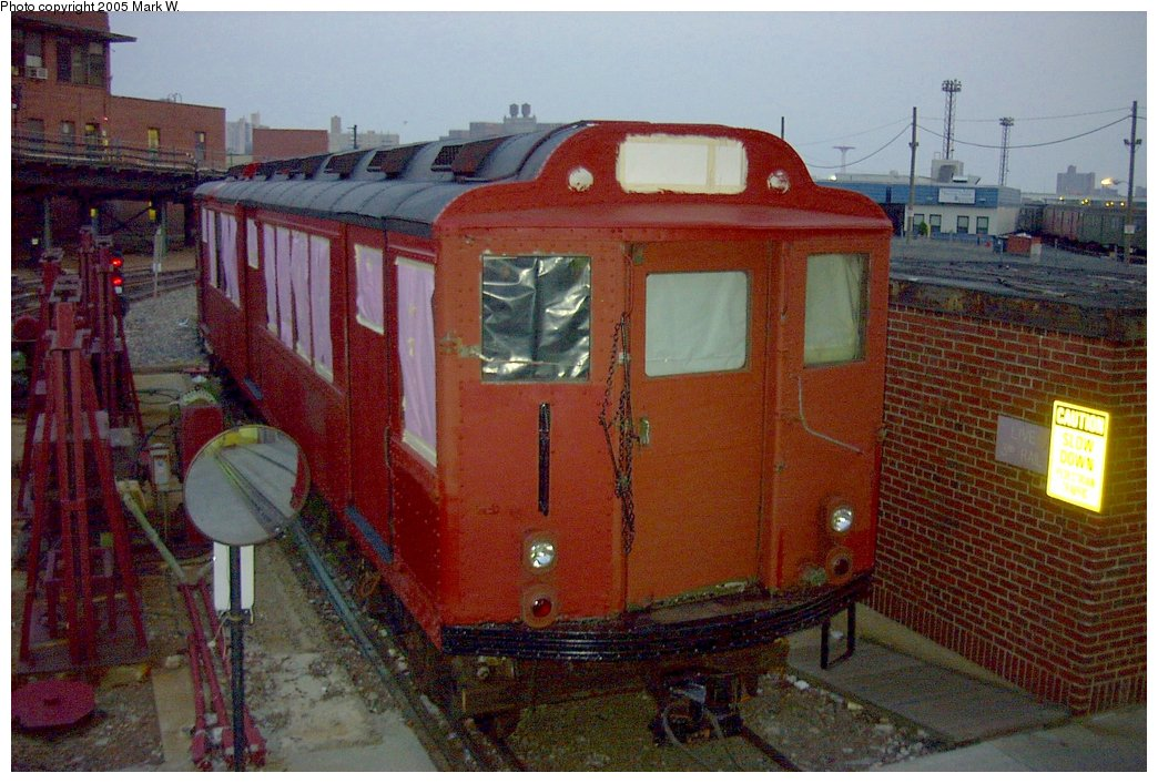(169k, 1044x706)<br><b>Country:</b> United States<br><b>City:</b> New York<br><b>System:</b> New York City Transit<br><b>Location:</b> Coney Island Yard<br><b>Car:</b> Low-V Worlds Fair 5655 <br><b>Photo by:</b> Mark W.<br><b>Date:</b> 8/29/2002<br><b>Notes:</b> WF Low-V 5655 prepped for repainting.<br><b>Viewed (this week/total):</b> 0 / 6585