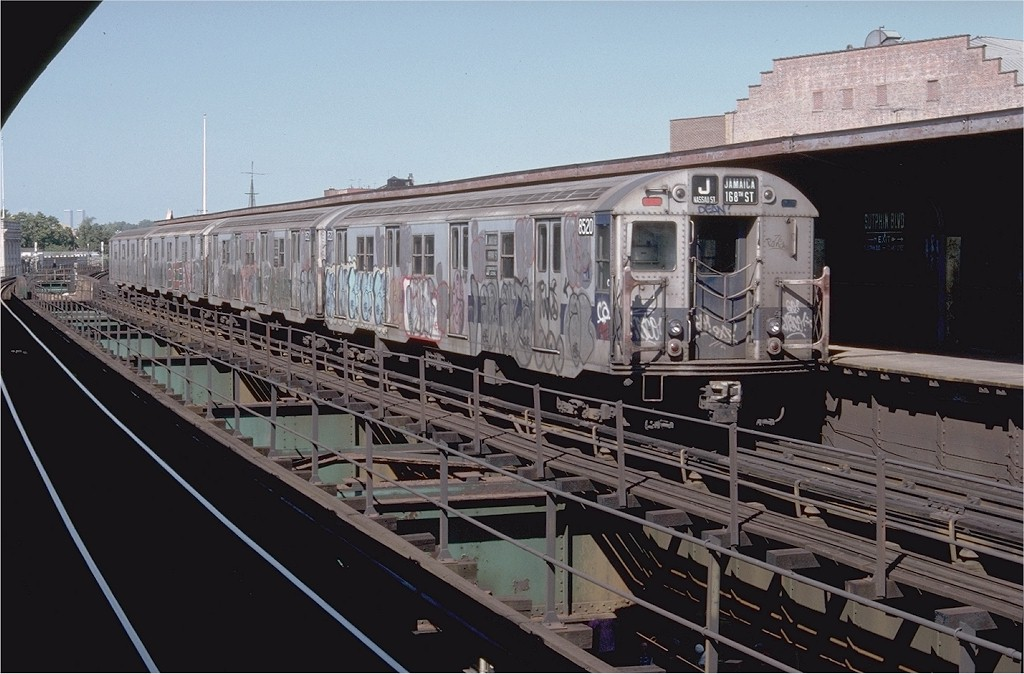 (185k, 1024x674)<br><b>Country:</b> United States<br><b>City:</b> New York<br><b>System:</b> New York City Transit<br><b>Line:</b> BMT Nassau Street/Jamaica Line<br><b>Location:</b> Sutphin Boulevard (Demolished) <br><b>Route:</b> J<br><b>Car:</b> R-30 (St. Louis, 1961) 8520 <br><b>Photo by:</b> Doug Grotjahn<br><b>Collection of:</b> Joe Testagrose<br><b>Date:</b> 9/9/1977<br><b>Viewed (this week/total):</b> 5 / 3248