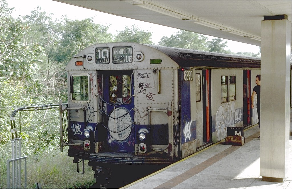(241k, 1024x666)<br><b>Country:</b> United States<br><b>City:</b> New York<br><b>System:</b> New York City Transit<br><b>Line:</b> BMT Myrtle Avenue Line<br><b>Location:</b> Metropolitan Avenue <br><b>Route:</b> M<br><b>Car:</b> R-30 (St. Louis, 1961) 8290 <br><b>Photo by:</b> Steve Zabel<br><b>Collection of:</b> Joe Testagrose<br><b>Date:</b> 9/11/1981<br><b>Viewed (this week/total):</b> 1 / 4262