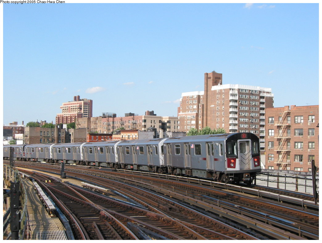 (184k, 1044x788)<br><b>Country:</b> United States<br><b>City:</b> New York<br><b>System:</b> New York City Transit<br><b>Line:</b> IRT Woodlawn Line<br><b>Location:</b> Bedford Park Boulevard <br><b>Route:</b> 4<br><b>Car:</b> R-142A (Option Order, Kawasaki, 2002-2003)  7720 <br><b>Photo by:</b> Chao-Hwa Chen<br><b>Date:</b> 7/1/2003<br><b>Viewed (this week/total):</b> 3 / 2049