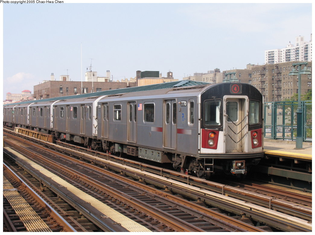 (192k, 1044x780)<br><b>Country:</b> United States<br><b>City:</b> New York<br><b>System:</b> New York City Transit<br><b>Line:</b> IRT Woodlawn Line<br><b>Location:</b> 161st Street/River Avenue (Yankee Stadium) <br><b>Route:</b> 4<br><b>Car:</b> R-142A (Supplemental Order, Kawasaki, 2003-2004)  7770 <br><b>Photo by:</b> Chao-Hwa Chen<br><b>Date:</b> 7/30/2005<br><b>Viewed (this week/total):</b> 8 / 2676