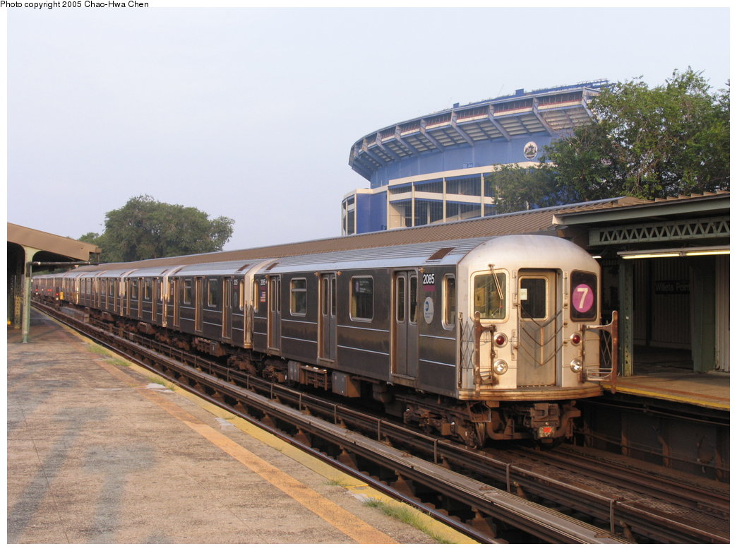 (177k, 1044x780)<br><b>Country:</b> United States<br><b>City:</b> New York<br><b>System:</b> New York City Transit<br><b>Line:</b> IRT Flushing Line<br><b>Location:</b> Willets Point/Mets (fmr. Shea Stadium) <br><b>Route:</b> 7<br><b>Car:</b> R-62A (Bombardier, 1984-1987)  2085 <br><b>Photo by:</b> Chao-Hwa Chen<br><b>Date:</b> 7/31/2005<br><b>Viewed (this week/total):</b> 1 / 2359