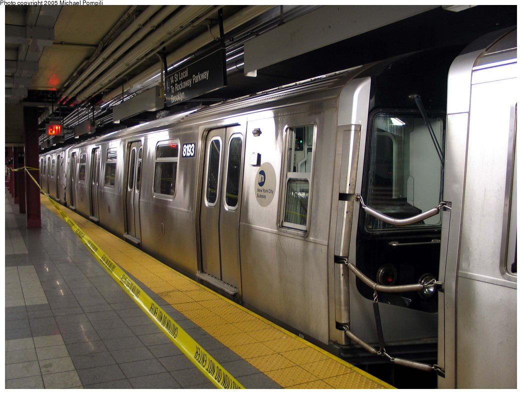 (171k, 1044x788)<br><b>Country:</b> United States<br><b>City:</b> New York<br><b>System:</b> New York City Transit<br><b>Line:</b> BMT Canarsie Line<br><b>Location:</b> 8th Avenue <br><b>Route:</b> L<br><b>Car:</b> R-143 (Kawasaki, 2001-2002) 8183 <br><b>Photo by:</b> Michael Pompili<br><b>Date:</b> 4/18/2004<br><b>Viewed (this week/total):</b> 2 / 3754