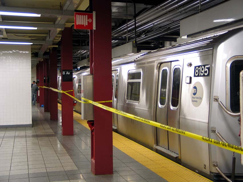 (97k, 853x640)<br><b>Country:</b> United States<br><b>City:</b> New York<br><b>System:</b> New York City Transit<br><b>Line:</b> BMT Canarsie Line<br><b>Location:</b> 8th Avenue <br><b>Route:</b> L<br><b>Car:</b> R-143 (Kawasaki, 2001-2002) 8195 <br><b>Photo by:</b> Michael Pompili<br><b>Date:</b> 4/18/2004<br><b>Viewed (this week/total):</b> 1 / 4062