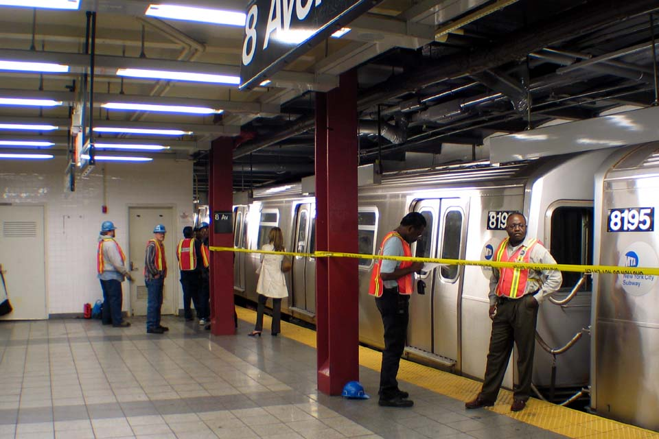 (106k, 960x640)<br><b>Country:</b> United States<br><b>City:</b> New York<br><b>System:</b> New York City Transit<br><b>Line:</b> BMT Canarsie Line<br><b>Location:</b> 8th Avenue <br><b>Route:</b> L<br><b>Car:</b> R-143 (Kawasaki, 2001-2002) 8196 <br><b>Photo by:</b> Michael Pompili<br><b>Date:</b> 4/18/2004<br><b>Viewed (this week/total):</b> 6 / 5041