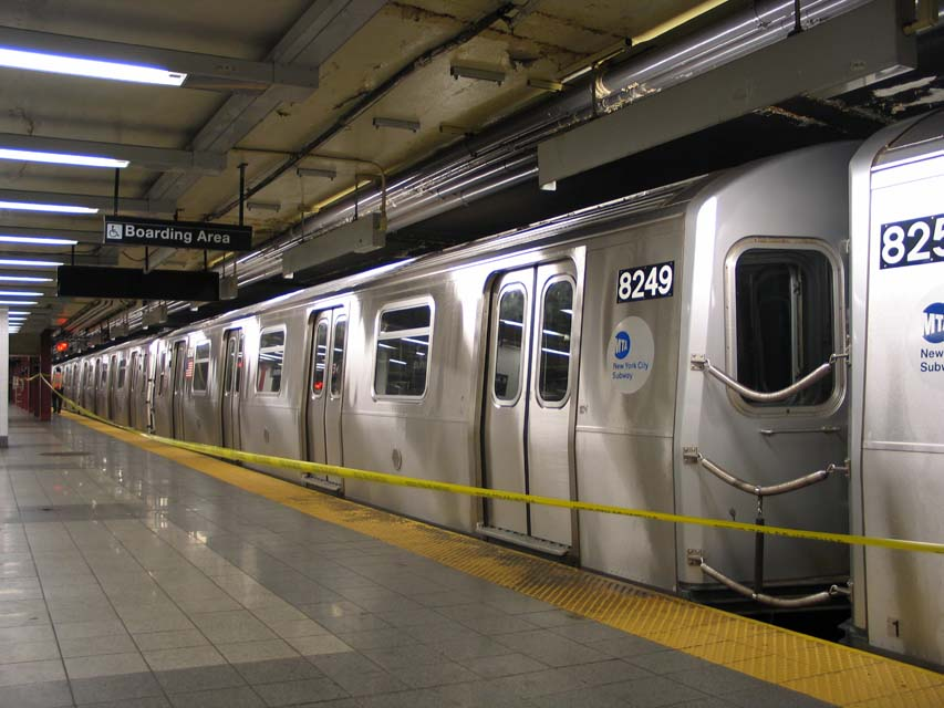 (93k, 853x640)<br><b>Country:</b> United States<br><b>City:</b> New York<br><b>System:</b> New York City Transit<br><b>Line:</b> BMT Canarsie Line<br><b>Location:</b> 8th Avenue <br><b>Route:</b> L<br><b>Car:</b> R-143 (Kawasaki, 2001-2002) 8249 <br><b>Photo by:</b> Michael Pompili<br><b>Date:</b> 4/18/2004<br><b>Viewed (this week/total):</b> 0 / 2987