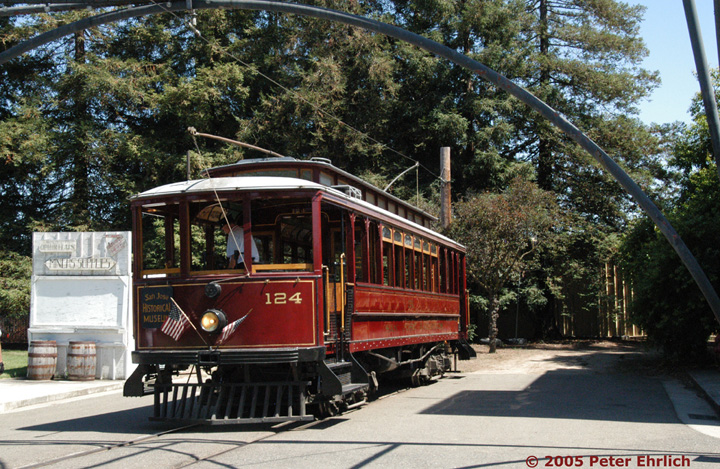 (229k, 720x469)<br><b>Country:</b> United States<br><b>City:</b> San Jose, CA<br><b>System:</b> Kelley Park Vintage Trolley <br><b>Car:</b>  124 <br><b>Photo by:</b> Peter Ehrlich<br><b>Date:</b> 7/30/2005<br><b>Notes:</b> At the San Jose Light Tower replica.<br><b>Viewed (this week/total):</b> 1 / 1136