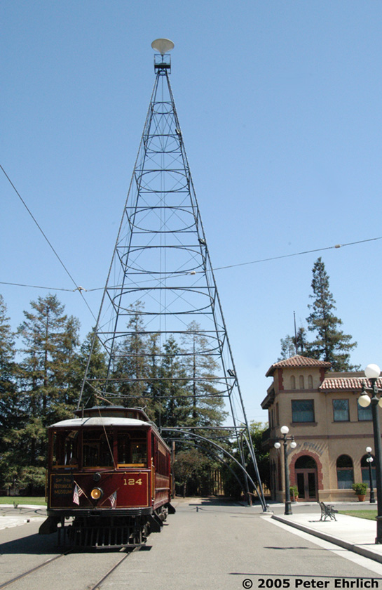 (178k, 545x840)<br><b>Country:</b> United States<br><b>City:</b> San Jose, CA<br><b>System:</b> Kelley Park Vintage Trolley <br><b>Car:</b>  124 <br><b>Photo by:</b> Peter Ehrlich<br><b>Date:</b> 7/30/2005<br><b>Notes:</b> At the San Jose Light Tower replica.<br><b>Viewed (this week/total):</b> 4 / 1385