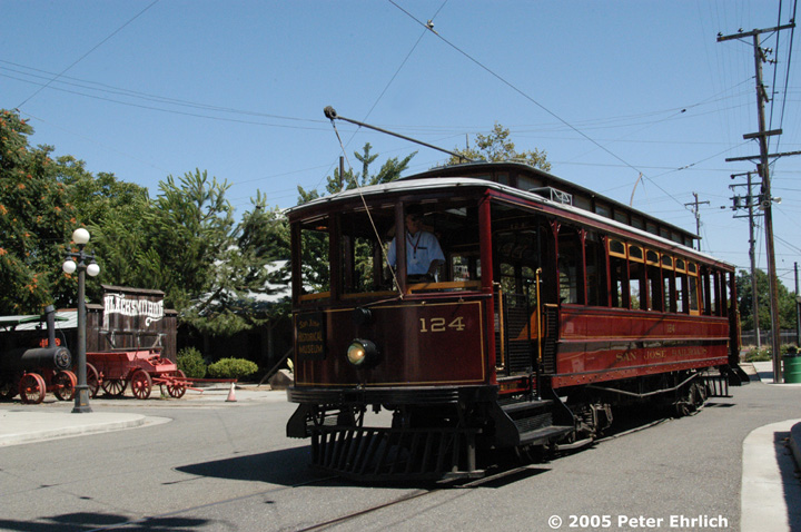 (159k, 720x478)<br><b>Country:</b> United States<br><b>City:</b> San Jose, CA<br><b>System:</b> Kelley Park Vintage Trolley <br><b>Car:</b>  124 <br><b>Photo by:</b> Peter Ehrlich<br><b>Date:</b> 7/30/2005<br><b>Notes:</b> View at the Phelan end of the line.<br><b>Viewed (this week/total):</b> 2 / 1011