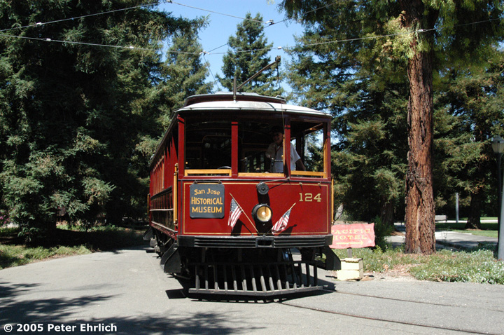 (218k, 720x478)<br><b>Country:</b> United States<br><b>City:</b> San Jose, CA<br><b>System:</b> Kelley Park Vintage Trolley <br><b>Car:</b>  124 <br><b>Photo by:</b> Peter Ehrlich<br><b>Date:</b> 7/30/2005<br><b>Notes:</b> View at the Park Entrance.<br><b>Viewed (this week/total):</b> 0 / 1046