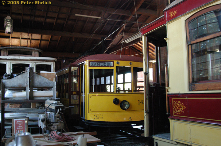 (169k, 720x478)<br><b>Country:</b> United States<br><b>City:</b> San Jose, CA<br><b>System:</b> Kelley Park Vintage Trolley <br><b>Car:</b>  143 <br><b>Photo by:</b> Peter Ehrlich<br><b>Date:</b> 7/30/2005<br><b>Notes:</b> Birney 143 in the carbarn.<br><b>Viewed (this week/total):</b> 1 / 1016
