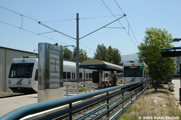 (154k, 720x478)<br><b>Country:</b> United States<br><b>City:</b> San Jose, CA<br><b>System:</b> Santa Clara VTA<br><b>Line:</b> VTA Almaden Shuttle<br><b>Location:</b> Almaden <br><b>Car:</b> VTA Kinki-Sharyo 929/903 <br><b>Photo by:</b> Peter Ehrlich<br><b>Date:</b> 7/30/2005<br><b>Notes:</b> Another view of the standby train with the shuttle car on the right.<br><b>Viewed (this week/total):</b> 1 / 1360