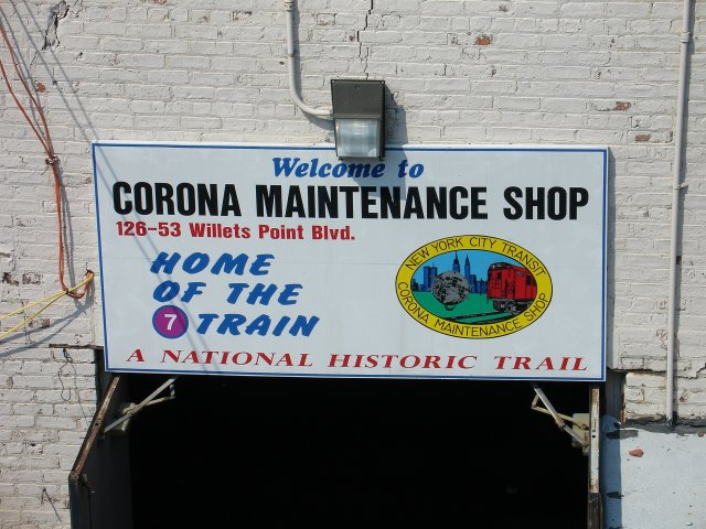 (93k, 640x480)<br><b>Country:</b> United States<br><b>City:</b> New York<br><b>System:</b> New York City Transit<br><b>Location:</b> Corona Yard<br><b>Photo by:</b> Kevin Lee<br><b>Date:</b> 6/9/2005<br><b>Notes:</b> Name plate over a side entrance to the Corona shop facility.<br><b>Viewed (this week/total):</b> 0 / 2402