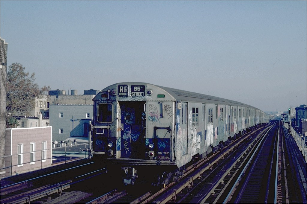 (177k, 1024x682)<br><b>Country:</b> United States<br><b>City:</b> New York<br><b>System:</b> New York City Transit<br><b>Line:</b> BMT Astoria Line<br><b>Location:</b> Broadway <br><b>Route:</b> RR<br><b>Car:</b> R-30 (St. Louis, 1961) 8403 <br><b>Photo by:</b> Steve Zabel<br><b>Collection of:</b> Joe Testagrose<br><b>Date:</b> 10/29/1982<br><b>Viewed (this week/total):</b> 2 / 2474