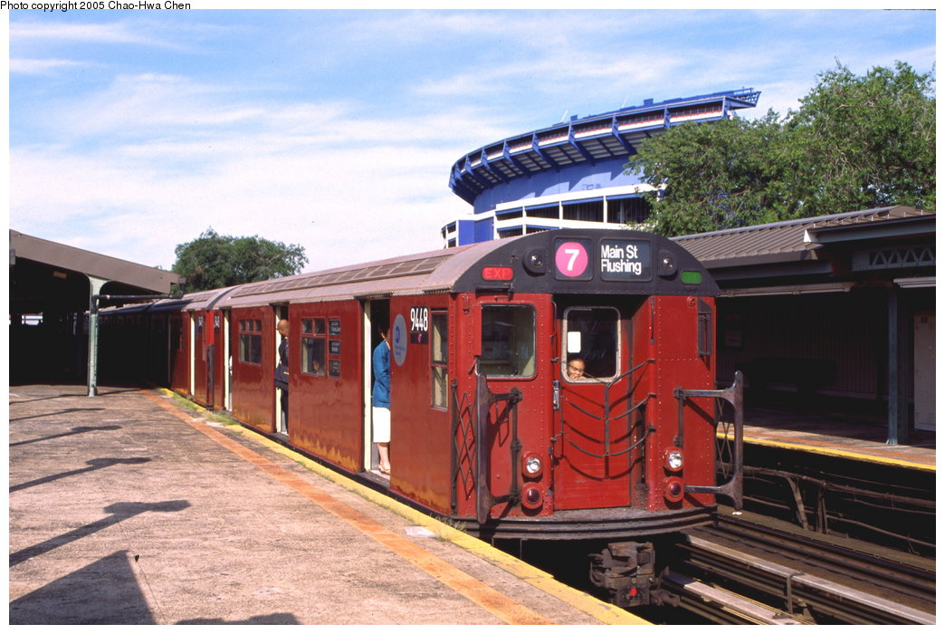 (178k, 1044x700)<br><b>Country:</b> United States<br><b>City:</b> New York<br><b>System:</b> New York City Transit<br><b>Line:</b> IRT Flushing Line<br><b>Location:</b> Willets Point/Mets (fmr. Shea Stadium) <br><b>Route:</b> 7<br><b>Car:</b> R-36 World's Fair (St. Louis, 1963-64) 9448 <br><b>Photo by:</b> Chao-Hwa Chen<br><b>Date:</b> 7/12/1999<br><b>Viewed (this week/total):</b> 4 / 2855