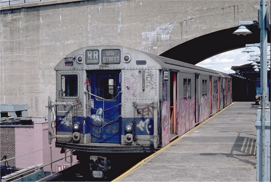 (262k, 1024x690)<br><b>Country:</b> United States<br><b>City:</b> New York<br><b>System:</b> New York City Transit<br><b>Line:</b> BMT Astoria Line<br><b>Location:</b> Ditmars Boulevard <br><b>Route:</b> RR<br><b>Car:</b> R-30 (St. Louis, 1961) 8553 <br><b>Photo by:</b> Steve Zabel<br><b>Collection of:</b> Joe Testagrose<br><b>Date:</b> 8/28/1982<br><b>Viewed (this week/total):</b> 3 / 3105