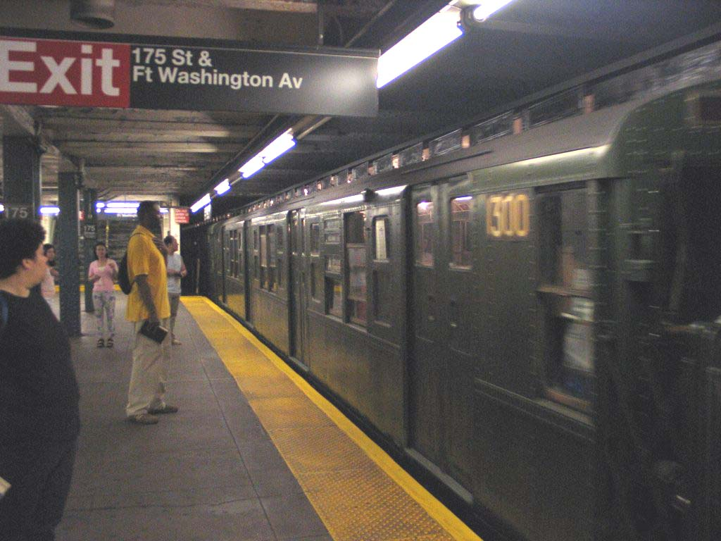 (106k, 1024x768)<br><b>Country:</b> United States<br><b>City:</b> New York<br><b>System:</b> New York City Transit<br><b>Line:</b> IND 8th Avenue Line<br><b>Location:</b> 175th Street/George Washington Bridge Bus Terminal <br><b>Route:</b> Fan Trip<br><b>Car:</b> R-6-1 (Pressed Steel, 1936)  1300 <br><b>Photo by:</b> Brian Weinberg<br><b>Date:</b> 8/21/2005<br><b>Notes:</b> R6 1300 on its first trip after being fully restored.<br><b>Viewed (this week/total):</b> 1 / 5680