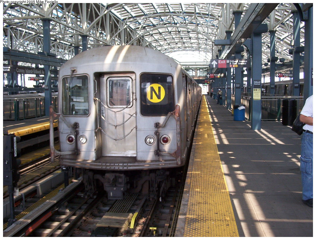 (237k, 1044x793)<br><b>Country:</b> United States<br><b>City:</b> New York<br><b>System:</b> New York City Transit<br><b>Location:</b> Coney Island/Stillwell Avenue<br><b>Route:</b> N<br><b>Car:</b> R-40M (St. Louis, 1969)   <br><b>Photo by:</b> Mike Fioriello<br><b>Date:</b> 6/25/2005<br><b>Viewed (this week/total):</b> 0 / 6827