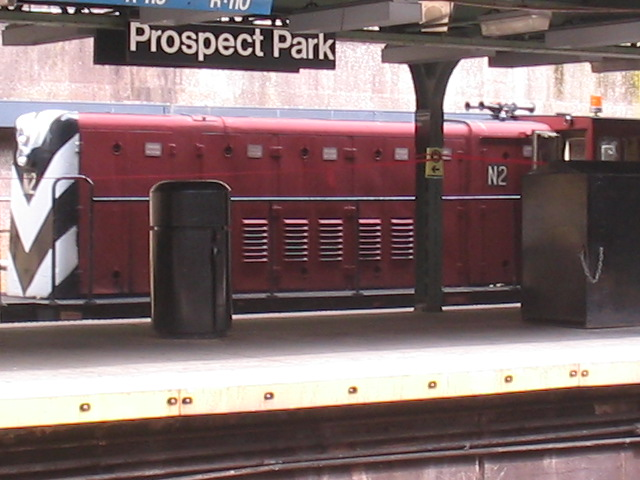 (97k, 640x480)<br><b>Country:</b> United States<br><b>City:</b> New York<br><b>System:</b> New York City Transit<br><b>Line:</b> BMT Franklin<br><b>Location:</b> Prospect Park <br><b>Route:</b> Work Service<br><b>Car:</b> R-47 (SBK) Locomotive  N2 <br><b>Photo by:</b> Daniel Borde<br><b>Date:</b> 8/20/2005<br><b>Viewed (this week/total):</b> 0 / 2718