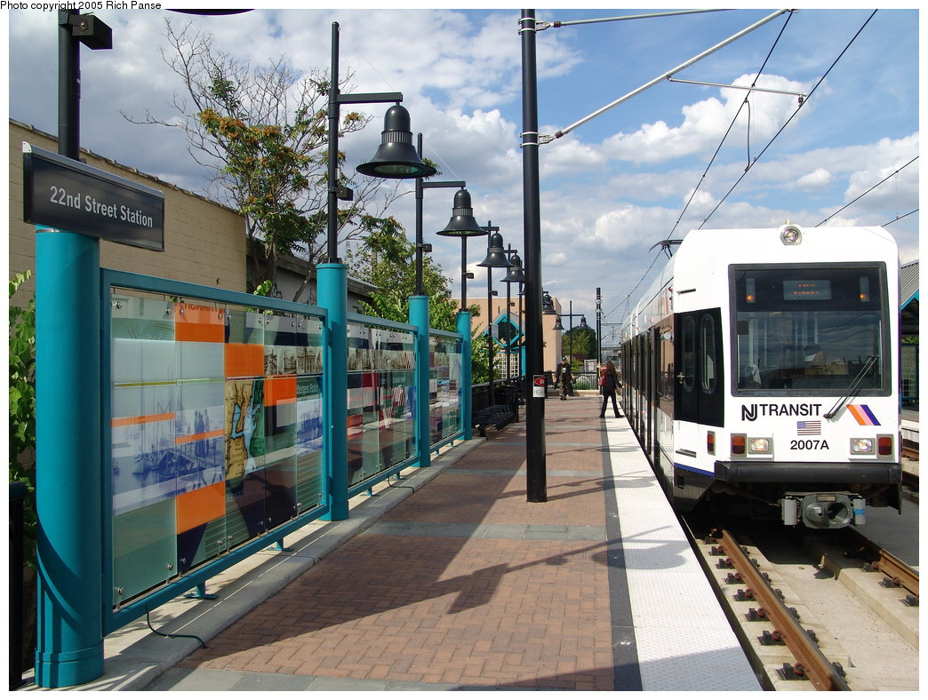 (231k, 1044x788)<br><b>Country:</b> United States<br><b>City:</b> Bayonne, NJ<br><b>System:</b> Hudson Bergen Light Rail<br><b>Location:</b> East 22nd Street <br><b>Car:</b> NJT-HBLR LRV (Kinki-Sharyo, 1998-99)  2007 <br><b>Photo by:</b> Richard Panse<br><b>Date:</b> 8/26/2005<br><b>Viewed (this week/total):</b> 0 / 2543