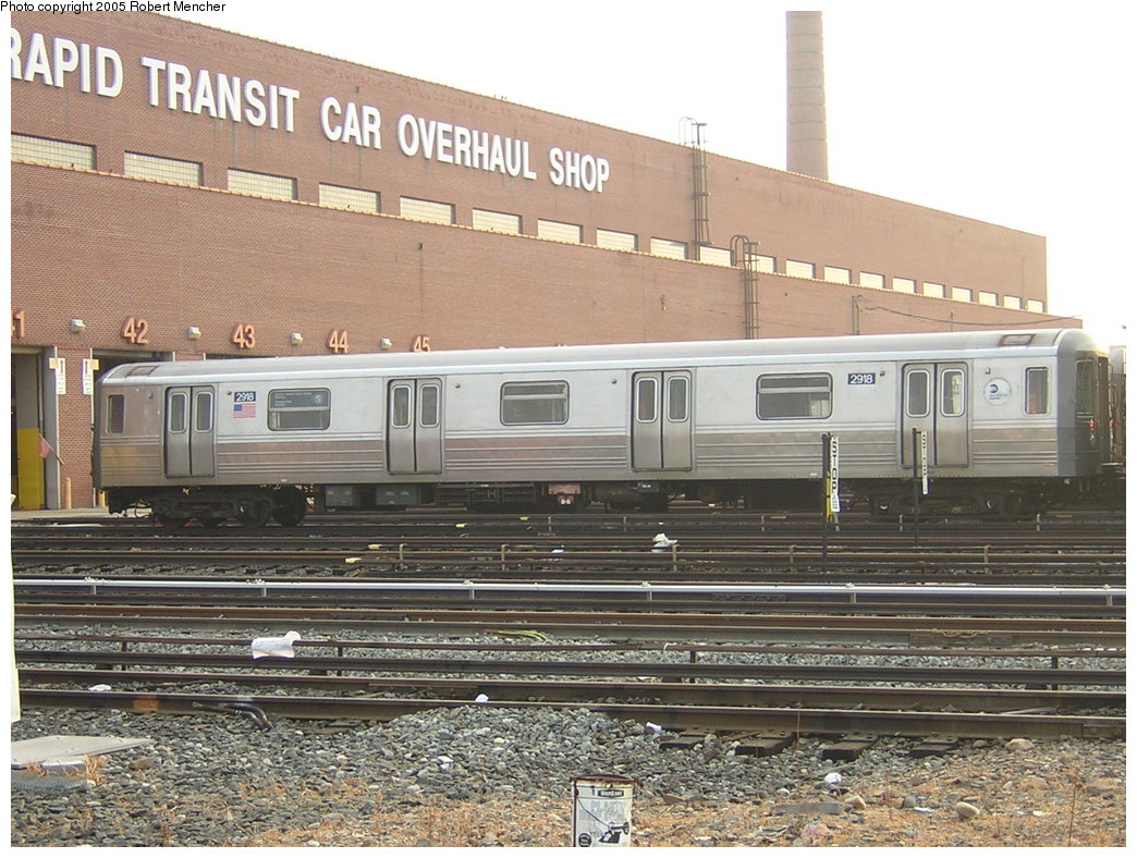 (241k, 1044x788)<br><b>Country:</b> United States<br><b>City:</b> New York<br><b>System:</b> New York City Transit<br><b>Location:</b> Coney Island Yard<br><b>Car:</b> R-68 (Westinghouse-Amrail, 1986-1988)  2918 <br><b>Photo by:</b> Robert Mencher<br><b>Date:</b> 8/29/2005<br><b>Viewed (this week/total):</b> 2 / 4289