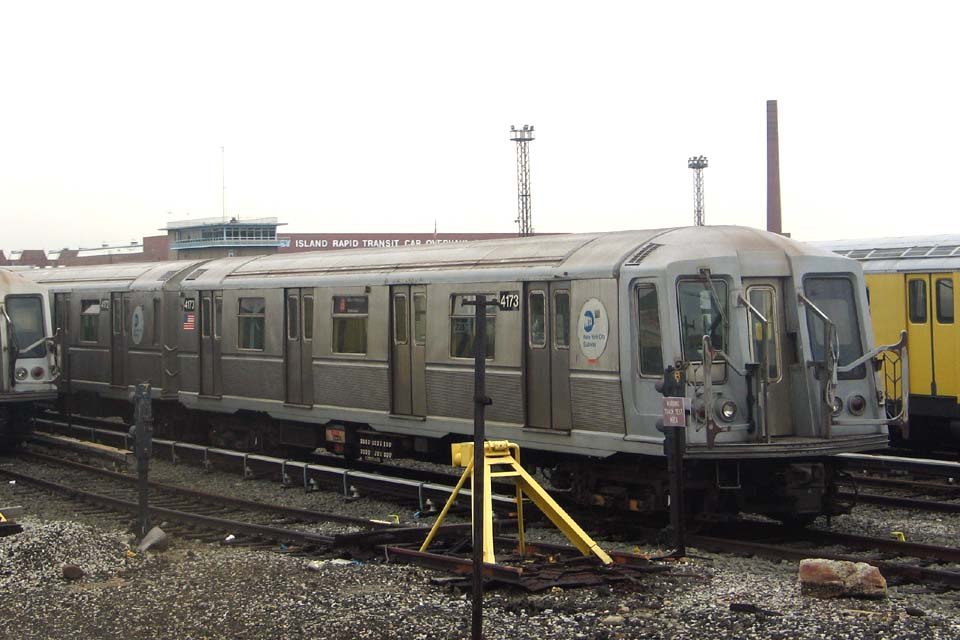 (97k, 960x640)<br><b>Country:</b> United States<br><b>City:</b> New York<br><b>System:</b> New York City Transit<br><b>Location:</b> Coney Island Yard<br><b>Car:</b> R-40 (St. Louis, 1968)  4173 <br><b>Photo by:</b> Michael Pompili<br><b>Date:</b> 4/3/2004<br><b>Viewed (this week/total):</b> 0 / 2220