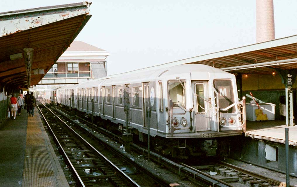 (99k, 1016x640)<br><b>Country:</b> United States<br><b>City:</b> New York<br><b>System:</b> New York City Transit<br><b>Location:</b> Coney Island/Stillwell Avenue<br><b>Route:</b> M<br><b>Car:</b> R-40 (St. Louis, 1968)  4318 <br><b>Photo by:</b> Michael Pompili<br><b>Date:</b> 10/23/2001<br><b>Viewed (this week/total):</b> 1 / 3047