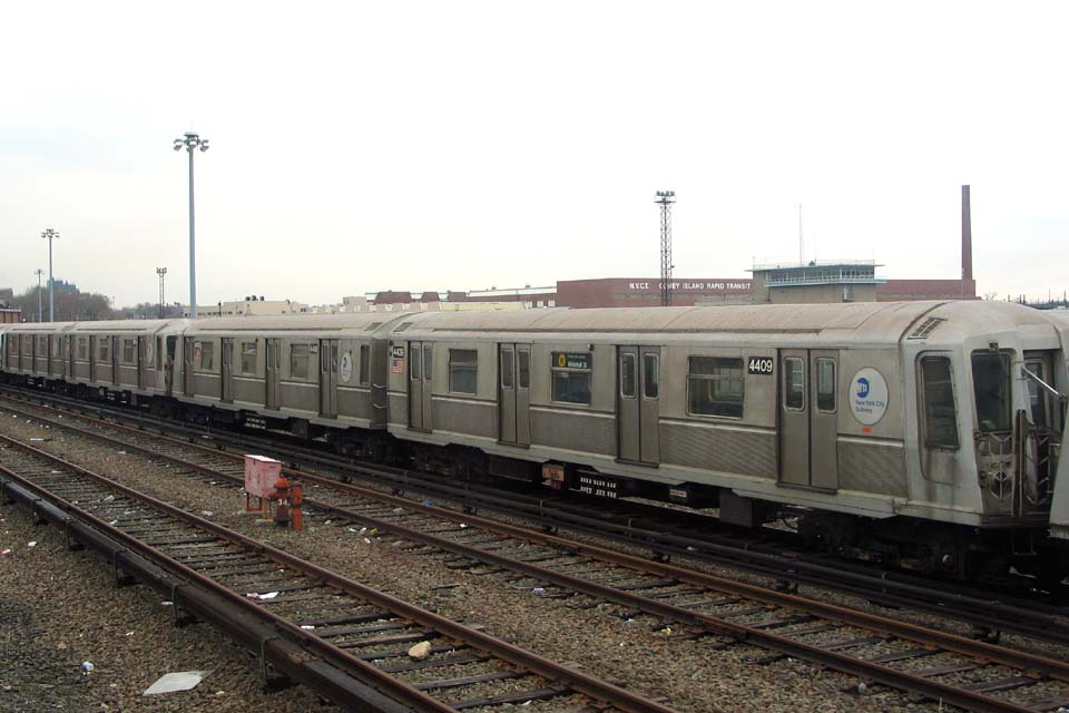(89k, 960x640)<br><b>Country:</b> United States<br><b>City:</b> New York<br><b>System:</b> New York City Transit<br><b>Location:</b> Coney Island Yard<br><b>Car:</b> R-40 (St. Louis, 1968)  4409 <br><b>Photo by:</b> Michael Pompili<br><b>Date:</b> 4/3/2004<br><b>Viewed (this week/total):</b> 1 / 2240