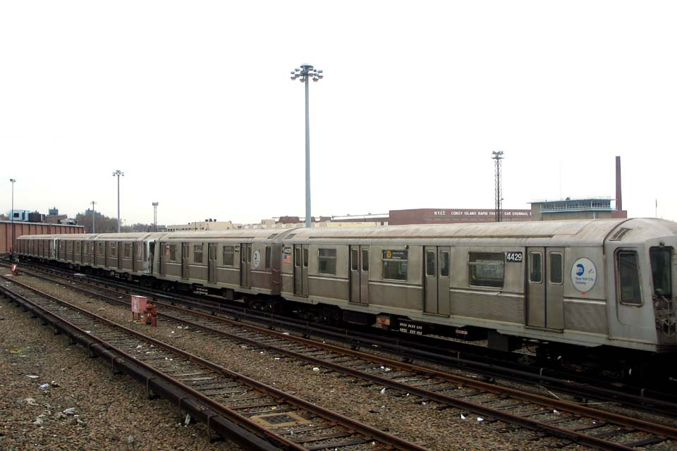 (84k, 960x640)<br><b>Country:</b> United States<br><b>City:</b> New York<br><b>System:</b> New York City Transit<br><b>Location:</b> Coney Island Yard<br><b>Car:</b> R-40 (St. Louis, 1968)  4429 <br><b>Photo by:</b> Michael Pompili<br><b>Date:</b> 4/3/2004<br><b>Viewed (this week/total):</b> 1 / 2075