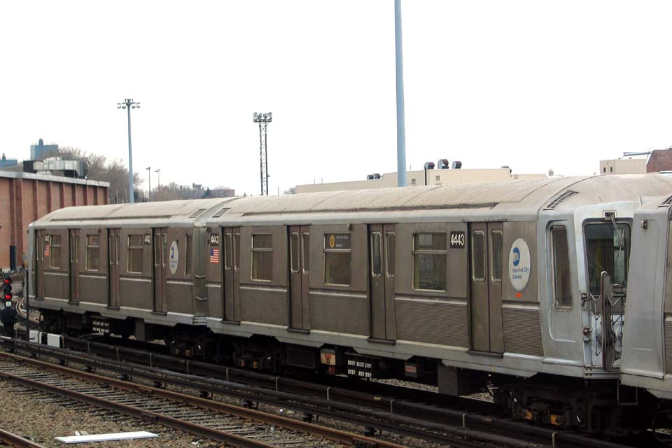 (77k, 960x640)<br><b>Country:</b> United States<br><b>City:</b> New York<br><b>System:</b> New York City Transit<br><b>Location:</b> Coney Island Yard<br><b>Car:</b> R-40 (St. Louis, 1968)  4443 <br><b>Photo by:</b> Michael Pompili<br><b>Date:</b> 4/3/2004<br><b>Viewed (this week/total):</b> 2 / 1728