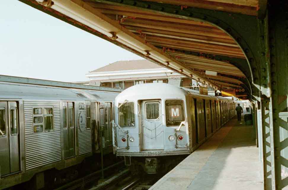 (45k, 972x640)<br><b>Country:</b> United States<br><b>City:</b> New York<br><b>System:</b> New York City Transit<br><b>Location:</b> Coney Island/Stillwell Avenue<br><b>Route:</b> M<br><b>Car:</b> R-42 (St. Louis, 1969-1970)  4911 <br><b>Photo by:</b> Michael Pompili<br><b>Date:</b> 10/23/2001<br><b>Viewed (this week/total):</b> 3 / 3193