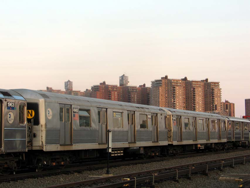 (70k, 853x640)<br><b>Country:</b> United States<br><b>City:</b> New York<br><b>System:</b> New York City Transit<br><b>Location:</b> Coney Island Yard<br><b>Car:</b> R-42 (St. Louis, 1969-1970)  4945 <br><b>Photo by:</b> Michael Pompili<br><b>Date:</b> 6/29/2004<br><b>Viewed (this week/total):</b> 0 / 3480