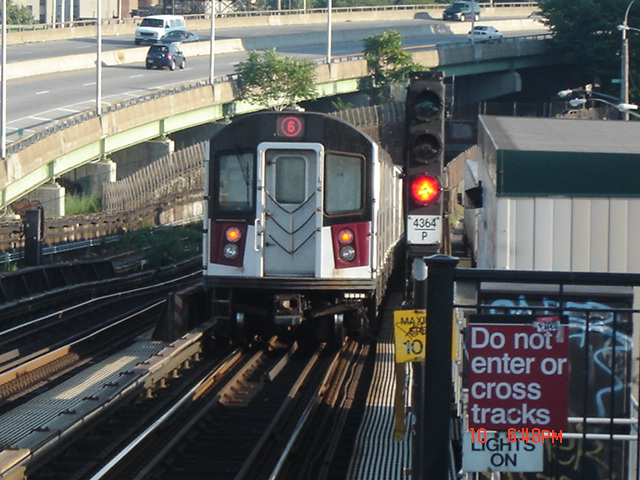 (148k, 640x480)<br><b>Country:</b> United States<br><b>City:</b> New York<br><b>System:</b> New York City Transit<br><b>Line:</b> IRT Pelham Line<br><b>Location:</b> Whitlock Avenue <br><b>Route:</b> 6<br><b>Car:</b> R-142 or R-142A (Number Unknown)  <br><b>Photo by:</b> DeAndre Burrell<br><b>Date:</b> 7/10/2005<br><b>Viewed (this week/total):</b> 0 / 4194