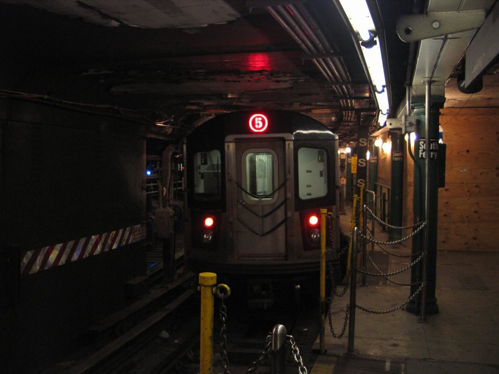 (113k, 1024x768)<br><b>Country:</b> United States<br><b>City:</b> New York<br><b>System:</b> New York City Transit<br><b>Line:</b> IRT West Side Line<br><b>Location:</b> South Ferry (Outer Loop Station) <br><b>Route:</b> 5<br><b>Car:</b> R-142 or R-142A (Number Unknown)  <br><b>Photo by:</b> Brian Weinberg<br><b>Date:</b> 9/11/2005<br><b>Notes:</b> Construction reroute had 2/5 trains stopping at South Ferry.<br><b>Viewed (this week/total):</b> 2 / 7971