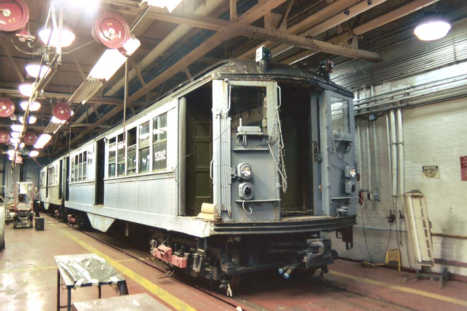 (107k, 960x640)<br><b>Country:</b> United States<br><b>City:</b> New York<br><b>System:</b> New York City Transit<br><b>Location:</b> Coney Island Shop-Paint Shop<br><b>Car:</b> Low-V (Museum Train) 5292 <br><b>Photo by:</b> Michael Pompili<br><b>Date:</b> 10/2003<br><b>Viewed (this week/total):</b> 3 / 2452
