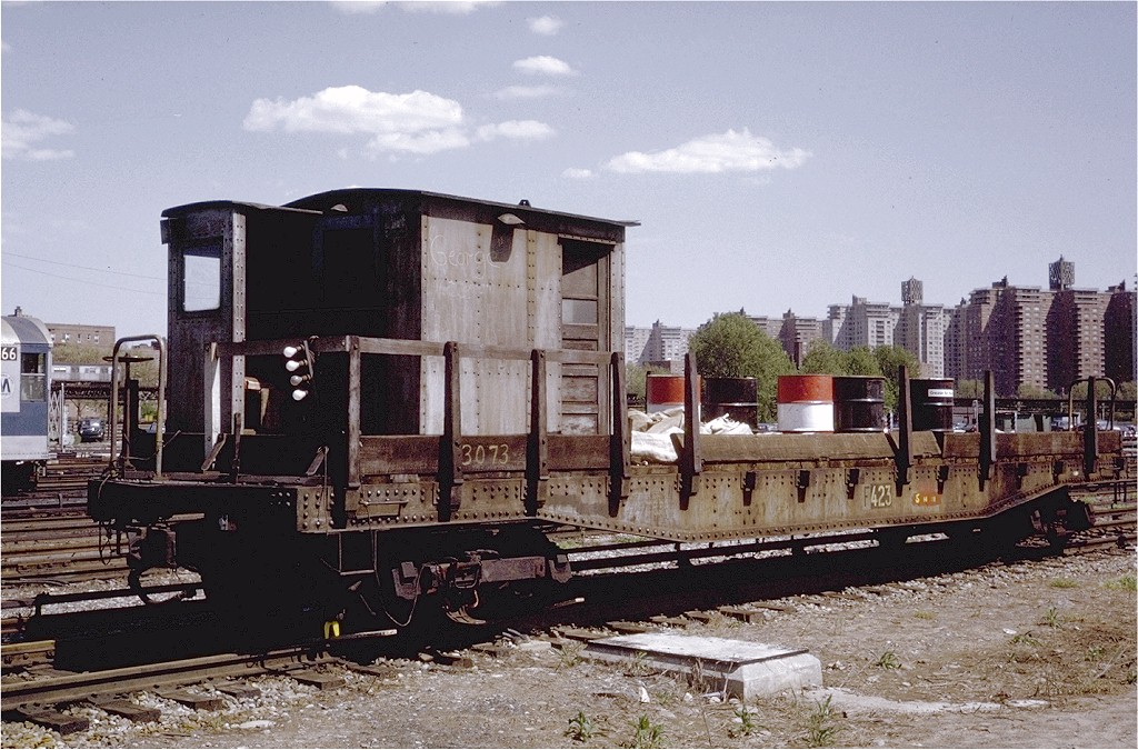 (233k, 1024x675)<br><b>Country:</b> United States<br><b>City:</b> New York<br><b>System:</b> New York City Transit<br><b>Location:</b> Coney Island Yard<br><b>Car:</b> Flat Car 423 <br><b>Photo by:</b> Steve Zabel<br><b>Collection of:</b> Joe Testagrose<br><b>Date:</b> 5/17/1971<br><b>Viewed (this week/total):</b> 0 / 1866