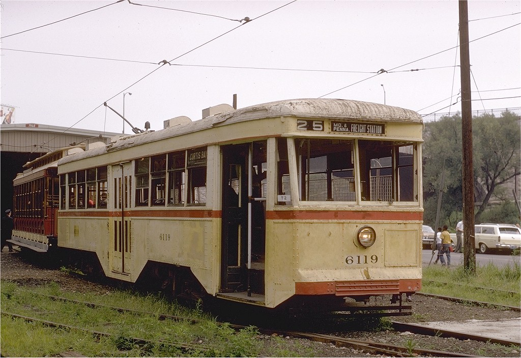 (228k, 1024x704)<br><b>Country:</b> United States<br><b>City:</b> Baltimore, MD<br><b>System:</b> Baltimore Streetcar Museum <br><b>Car:</b>  6119 <br><b>Photo by:</b> Gerald H. Landau<br><b>Collection of:</b> Joe Testagrose<br><b>Date:</b> 7/5/1970<br><b>Notes:</b> 7/5/1970, BSM's opening day.<br><b>Viewed (this week/total):</b> 2 / 1403