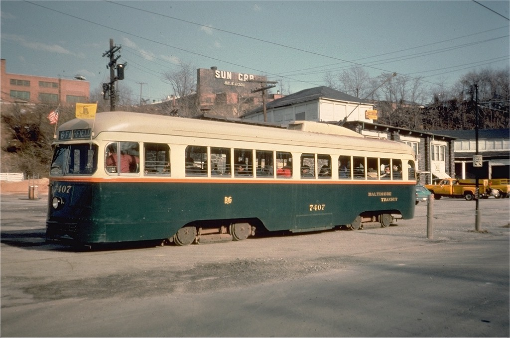 (174k, 1024x679)<br><b>Country:</b> United States<br><b>City:</b> Baltimore, MD<br><b>System:</b> Baltimore Streetcar Museum <br><b>Car:</b> PCC 7407 <br><b>Collection of:</b> Joe Testagrose<br><b>Date:</b> 2/1976<br><b>Viewed (this week/total):</b> 1 / 899