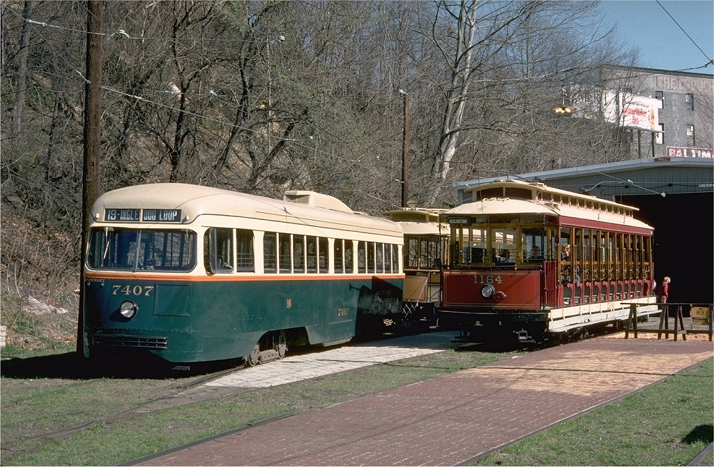 (297k, 1024x669)<br><b>Country:</b> United States<br><b>City:</b> Baltimore, MD<br><b>System:</b> Baltimore Streetcar Museum <br><b>Car:</b> PCC 7407 <br><b>Photo by:</b> Doug Grotjahn<br><b>Collection of:</b> Joe Testagrose<br><b>Date:</b> 3/28/1976<br><b>Viewed (this week/total):</b> 1 / 704
