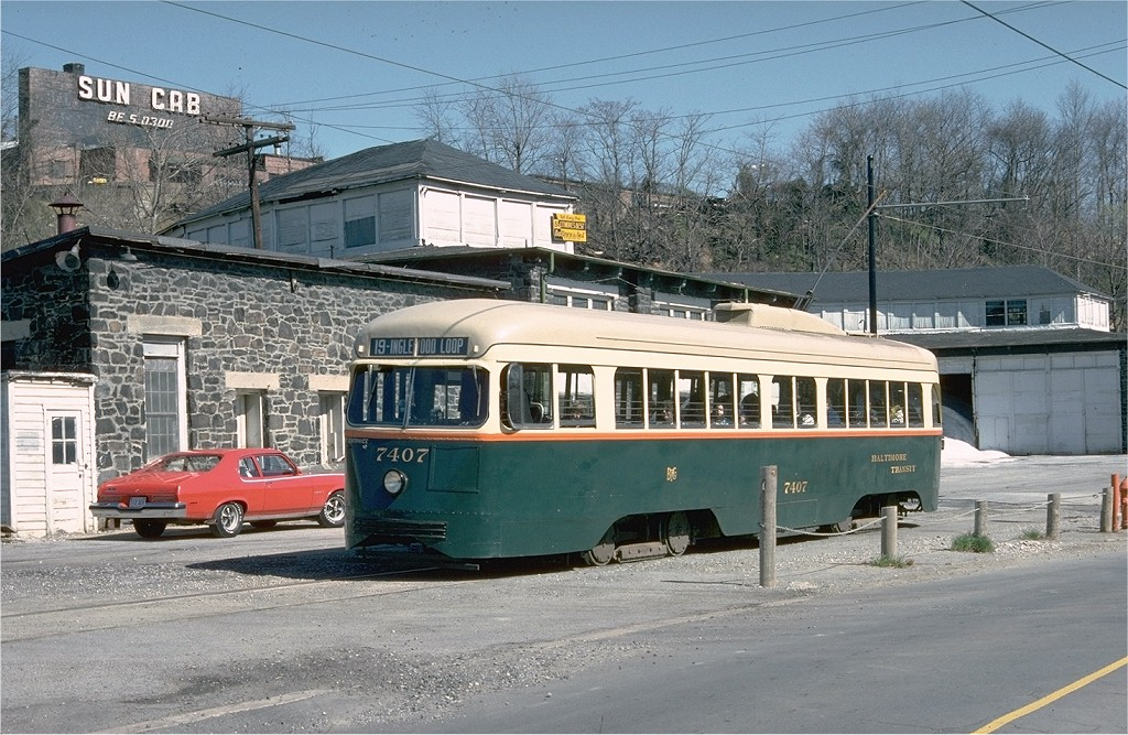 (240k, 1024x667)<br><b>Country:</b> United States<br><b>City:</b> Baltimore, MD<br><b>System:</b> Baltimore Streetcar Museum <br><b>Car:</b> PCC 7407 <br><b>Collection of:</b> Joe Testagrose<br><b>Date:</b> 3/28/1976<br><b>Viewed (this week/total):</b> 3 / 878