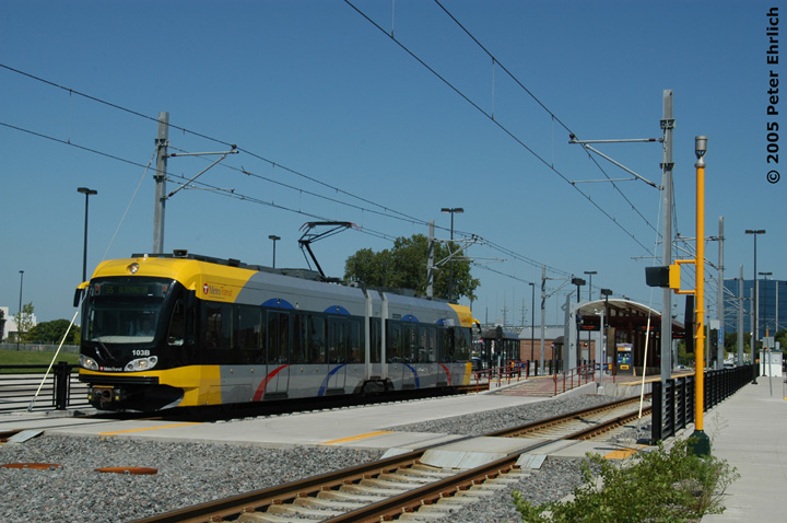 (138k, 720x478)<br><b>Country:</b> United States<br><b>City:</b> Minneapolis, MN<br><b>System:</b> MNDOT Light Rail Transit<br><b>Line:</b> Hiawatha Line<br><b>Location:</b> <b><u>28th Ave. </b></u><br><b>Car:</b> Bombardier Flexity Swift  103 <br><b>Photo by:</b> Peter Ehrlich<br><b>Date:</b> 8/27/2005<br><b>Notes:</b> Outbound train at/leaving 28th Avenue Station.<br><b>Viewed (this week/total):</b> 2 / 1390