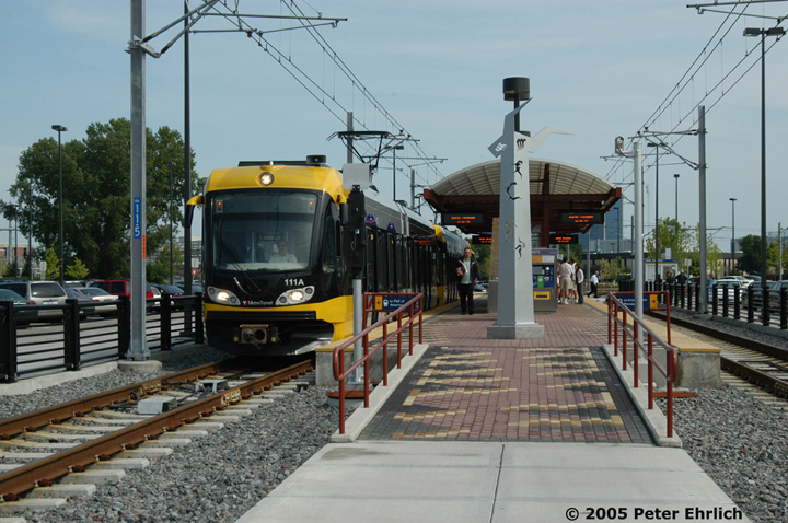 (163k, 720x478)<br><b>Country:</b> United States<br><b>City:</b> Minneapolis, MN<br><b>System:</b> MNDOT Light Rail Transit<br><b>Line:</b> Hiawatha Line<br><b>Location:</b> <b><u>28th Ave. </b></u><br><b>Car:</b> Bombardier Flexity Swift  111+113 <br><b>Photo by:</b> Peter Ehrlich<br><b>Date:</b> 9/4/2005<br><b>Notes:</b> Outbound train at/leaving 28th Avenue Station.<br><b>Viewed (this week/total):</b> 0 / 1063